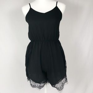 Pants - Black Lace Trimmed Cami Strapped Romper